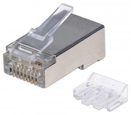 INTELLINET RJ45 MODULAR PLUGS, CAT6A, STP, 3-PRONG, FOR SOLID WIRE, 15  GOLD PLATED CONTACTS, 90 PACK