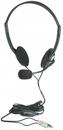 Manhattan 164429 headset Binaural Head-band Black, Silver