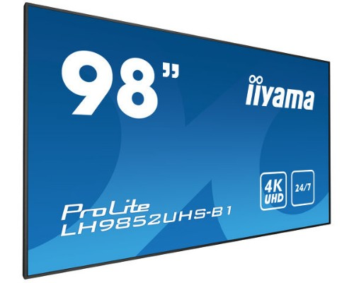 "iiyama LH9852UHS-B1 signage display 2.49 m (98"") LED 4K Ultra HD Digital signage flat panel Black"